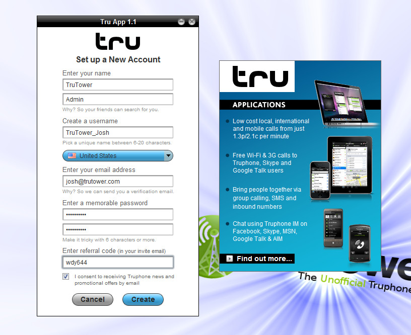 Truphone App Account, Tru VoIP Application, Free Phone Calls on Windows