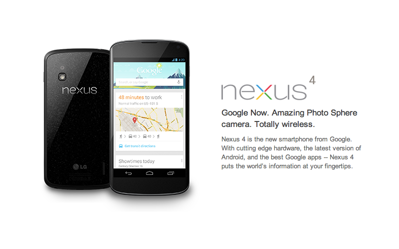 Android Nexus Phone, Google Nexus Smartphone, Nexus 4 and 10 smartphones