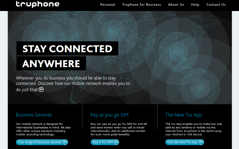 Truphone Website, Tru SIM and Tru VoIP App, Business International Roaming