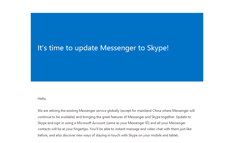 Windows Live Messenger, Skype IM and Voice Calling, Upgrade to Skype