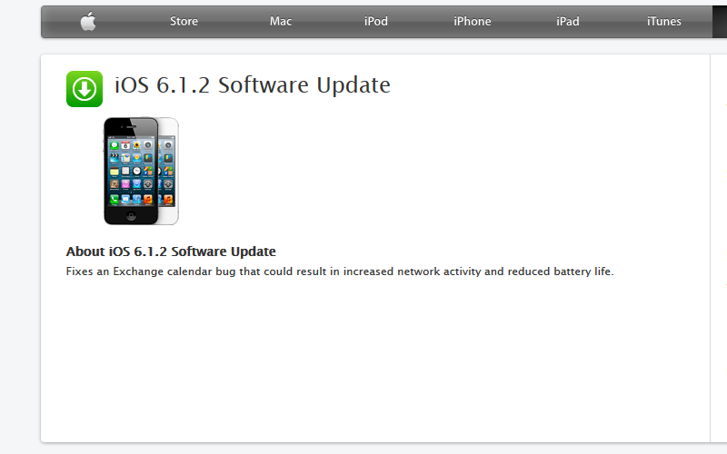 iOS 6.1.2, Apple Update, iPhone Update