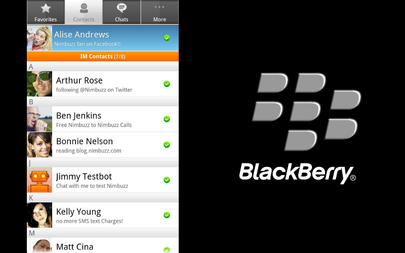Nimbuzz for BlackBerry 10, BB10 Calling Apps, BlackBerry10 VoIP
