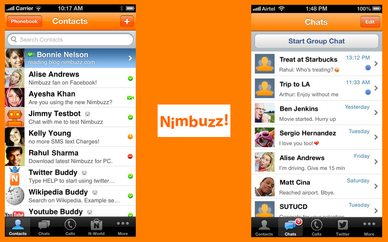 Nimbuzz Messenger for iOS, iPhone VoIP and messaging, iPad VoIP Calling