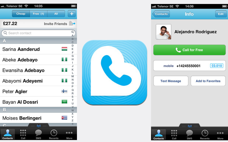 Rebtel for iOS, iPad Voice Calls, iPod touch calling apps