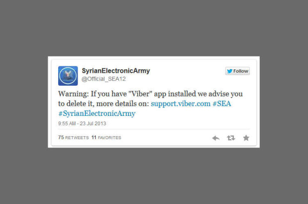 "Viber Support Defaced By Syrian Electronic Army for ""Spying and Tracking"" Users"