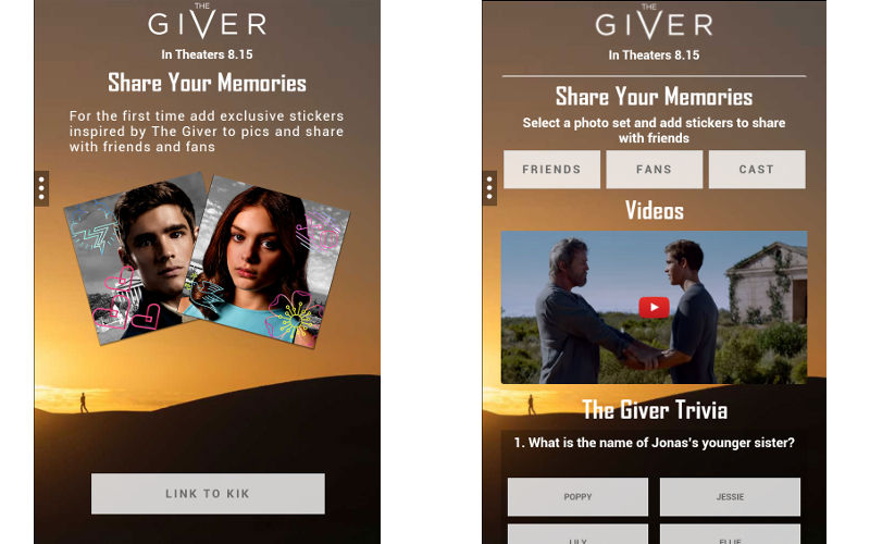 "The Weinstein Company Launches Kik Card for ""The Giver"" Ahead of The..."