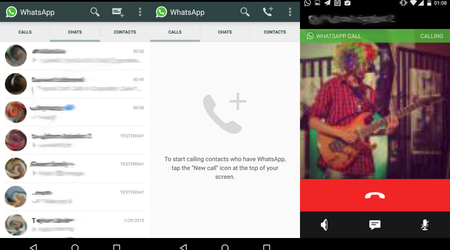 WhatsApp Messenger VoIP, Calling in WhatsApp, voice calls WhatsApp