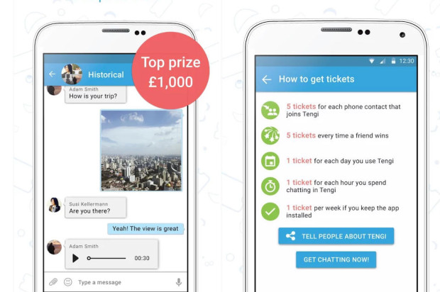 Tengi is a messaging application that gives back to its users in the form of cash prizes