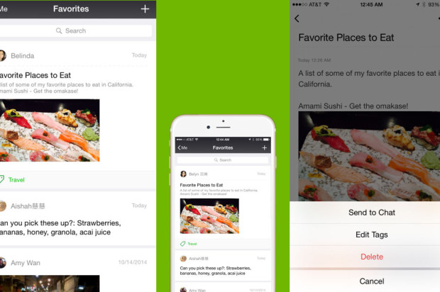"WeChat users can now create, ""Favorite,"" and share rich media messages on iOS"