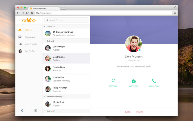 ooVoo for web, web-based applications, VoIP and instant messaging