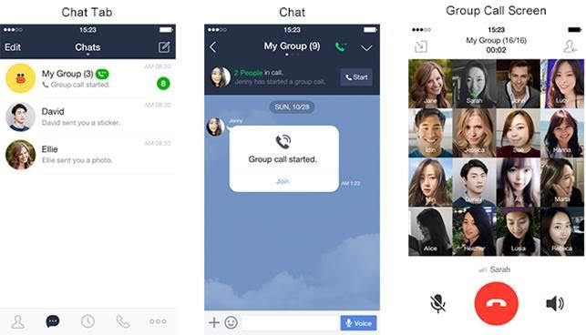 LINE app, LINE voip, group chat messaging